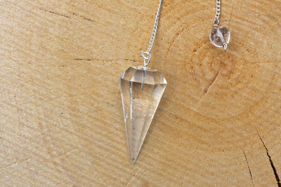 Pendel bergkristal, gefacetteerd